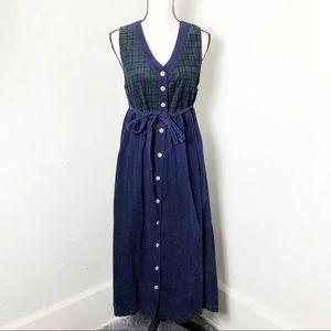 NWT Vintage Plaid Corduroy Button Down Dress S